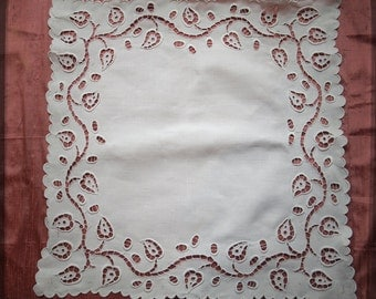 Antique French Square Hand embroidered Large Tablecloth with leaves pattern Cotton - Vintage White Gorgeous