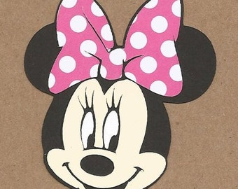 8- 8 inch tall Minnie Mouse Head with Pink and white polka dot bows Cricut DIe Cuts
