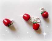 Red apple knitting stitch markers with glitter - UK seller