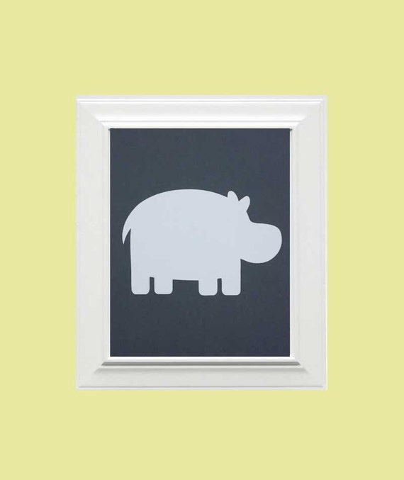 Custom Personalized Hippo/Animal Picture, Children's Wall Art, Kid's Wall Art, Nursery Wall Art, Elephant Wall Art-Grey,White