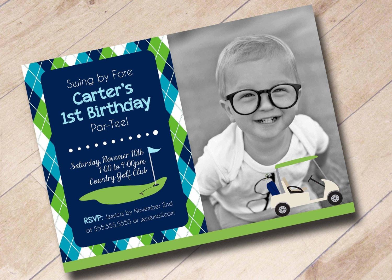 First Birthday Golf Themed Invitation Argyle – Golf Themed Birthday Invitations