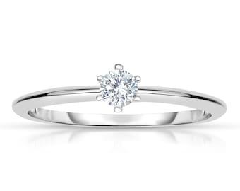 14k White Gold Round Diamond Solitaire Engagement Ring (1/5 cttw, I-J, I2-I3)
