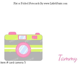 Photographer Camera Photography Note Cards Set of 10 personalized flat or folded cards