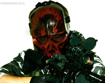 Army of Two v2 Style Airsoft Mask Red - Made to order -