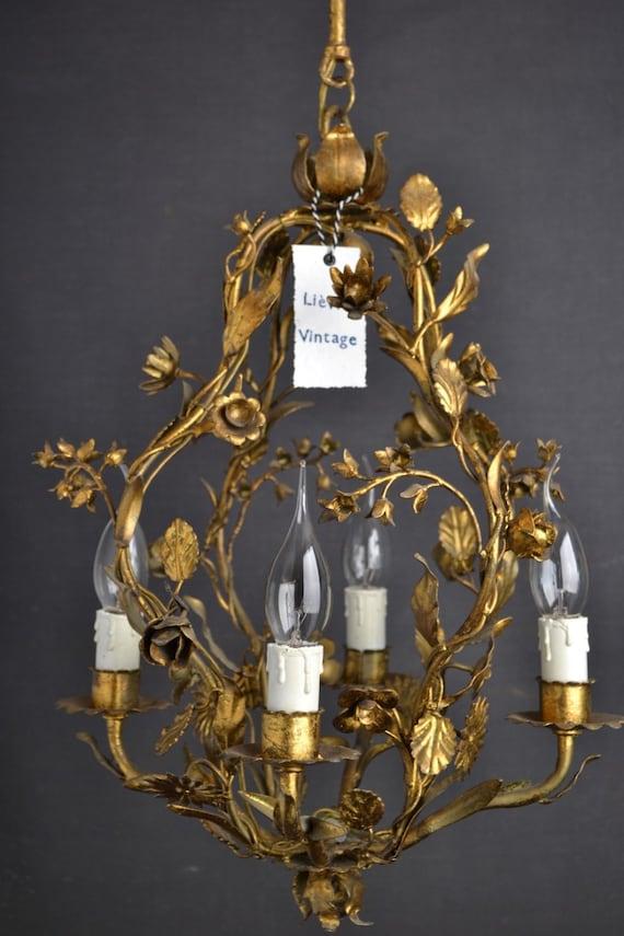 Very beautiful italian Tole flower chandelier
