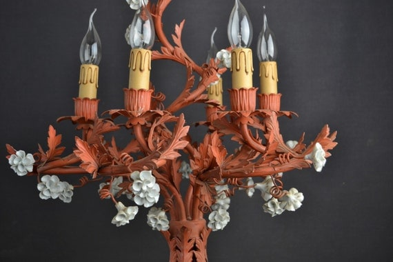 Stunning large tole flower chandelier with porcelain flowers