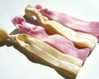 Hair Elastic Ribbons -- Baby Pink and Ivory