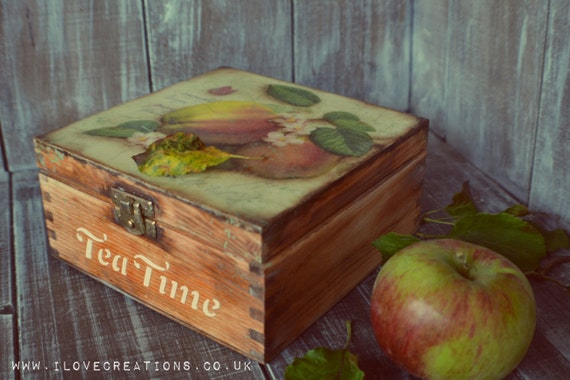 The Apple Orchard- Vintage  Tea Box, wooden Tea caddy