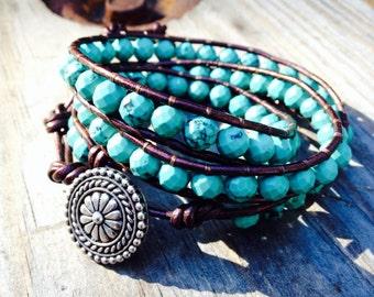 Genuine Turquoise Beaded Leather Wrap Bracelet