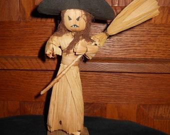 Witch, Vintage, Corn Husk, Halloween, Figurine