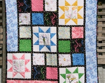 Child Quilt, Lap Quilt, Kid Quilt, Throw Quilt, Modern Quilt, Patchwork Blanket, Patchwork Quilt Mayfly Mischief