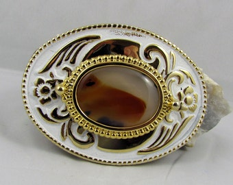 Western Belt Buckle - Natural Stone Belt Buckle -Cowboy Belt Buckle - Gold Tone & White Belt Buckle with a Natural Montana Agate Stone