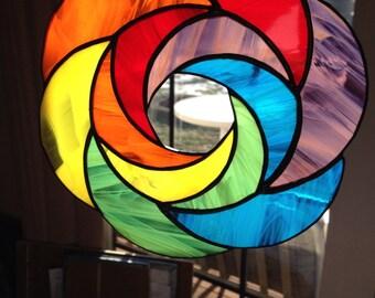 Handmade Rainbow Geometric Abstract Stained Glass Suncatcher Art