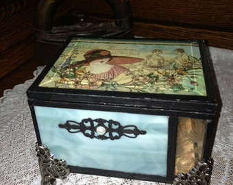 womans bridal stained glass jewelry box memory keepsake shabby chic cottage chic wedding shower gift