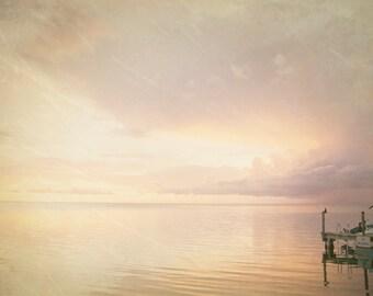 Fine Art Photography-Florida Keys-sunset-8x12-Marathon key-home decor-art print-travel photography-pink-sky- docks-swimming-boats-bay
