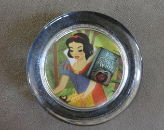 Rare Vintage 1952 Disney Snow White Paperweight with Mini Storybook
