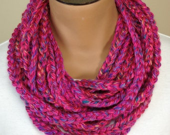 Crochet Chain Necklace Scarf Fuchsia Scarf
