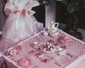 Crochet Barbie Fashion Doll Pattern DELICATE DINING Tablecloth & ++