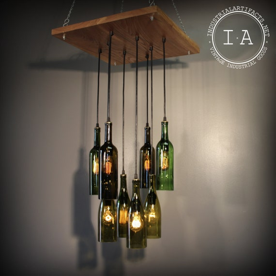 Items similar to repurposed wine bottle pendant chandelier wood frame hanging lamp on etsy - Wine bottle pendant light ...