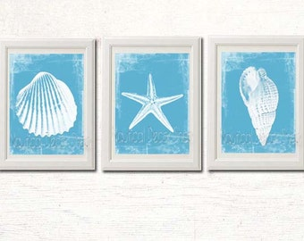 Bathroom Artwork, Art bathroom, Bathroom Instant Download, Blue White Decor, Coastal Decor, Beach Wall Art, Seashell Starfish Modern Beach