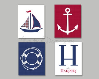 Nautical Nursery, Boats Nursery, Navy Blue, White, Red, Nautical Nursery, Sailboat, Anchor, Life Ring, Personalized Name PrintSet of 4