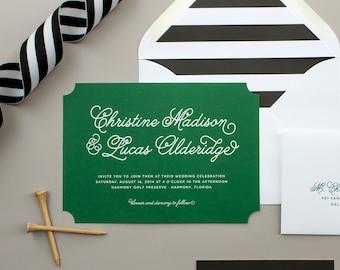 Die Cut Wedding Invitations, Preppy Wedding Invites, Green and Black Striped Wedding Invitation SAMPLES | Lively
