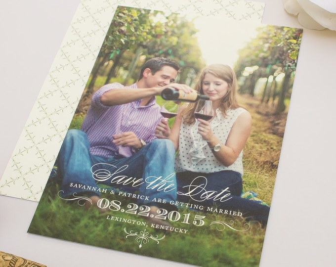 Vintage Save the Date, Flourish Engagement Announcement with Full Bleed Photo, Save the Date Cards with Engagement photo |Classically