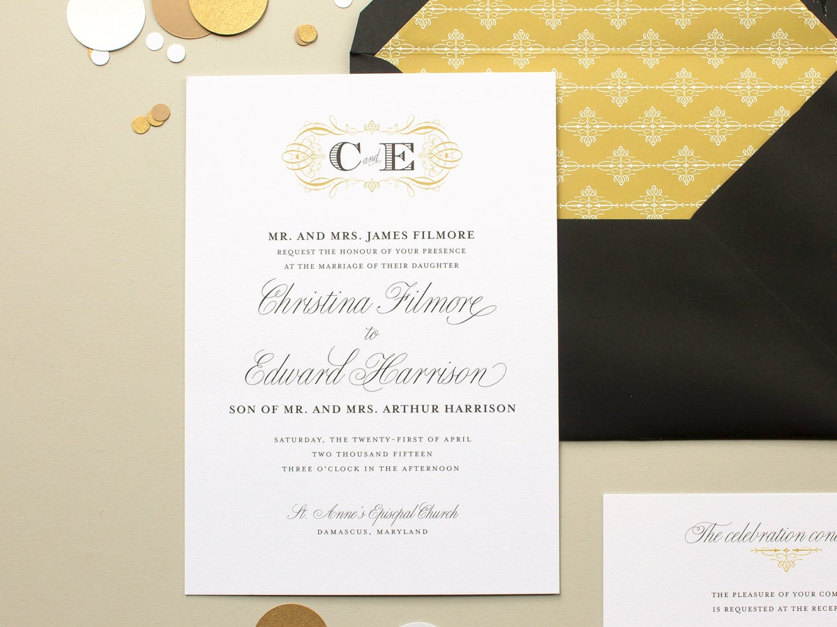 Elegant Monogram Wedding Invitations