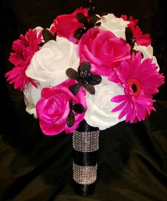 Hot Pink White Black Rose Bridal Bouquet 2 Piece Set Hot Pink