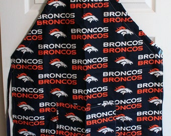 Denver Broncos Apron Adjustable ties to fit any size. Pocket in front