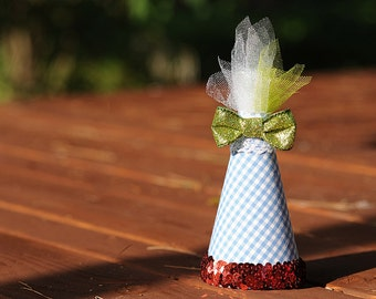 Dorothy Hat Wizard of Oz Inspired Blue Gingham with Red Sequin Mini Costume Party Hat