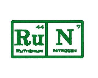 Run Machine Embroidery Design, Run Periodic Table of Elements embroidery design, run embroidery pattern,  run design, run embroidery pattern