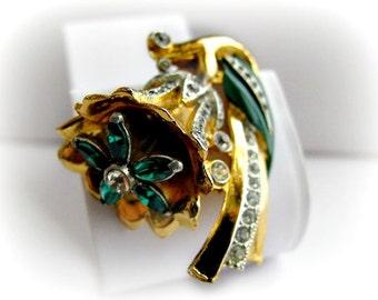Coro Emerald Green Flower Trembler Adolph Katz Design, Vintage Rhinestone and Enamel, Art Deco Style
