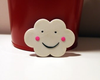 Happy Cloud Polymer Clay Brooch