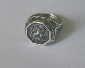 "Oxidized .925 Sterling Silver Russian Orthodox Ring ""St. George The Concueror""- Custom Size"