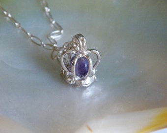"""Sterling SILVER Bead Crown Charm pendant 10mm 15mm With 18.5 """" Oval Chain 2.3 mm"""