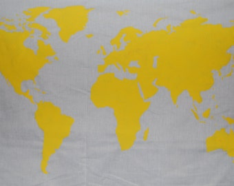 SALE.*.   World Map Wall Tapestry in Yellow