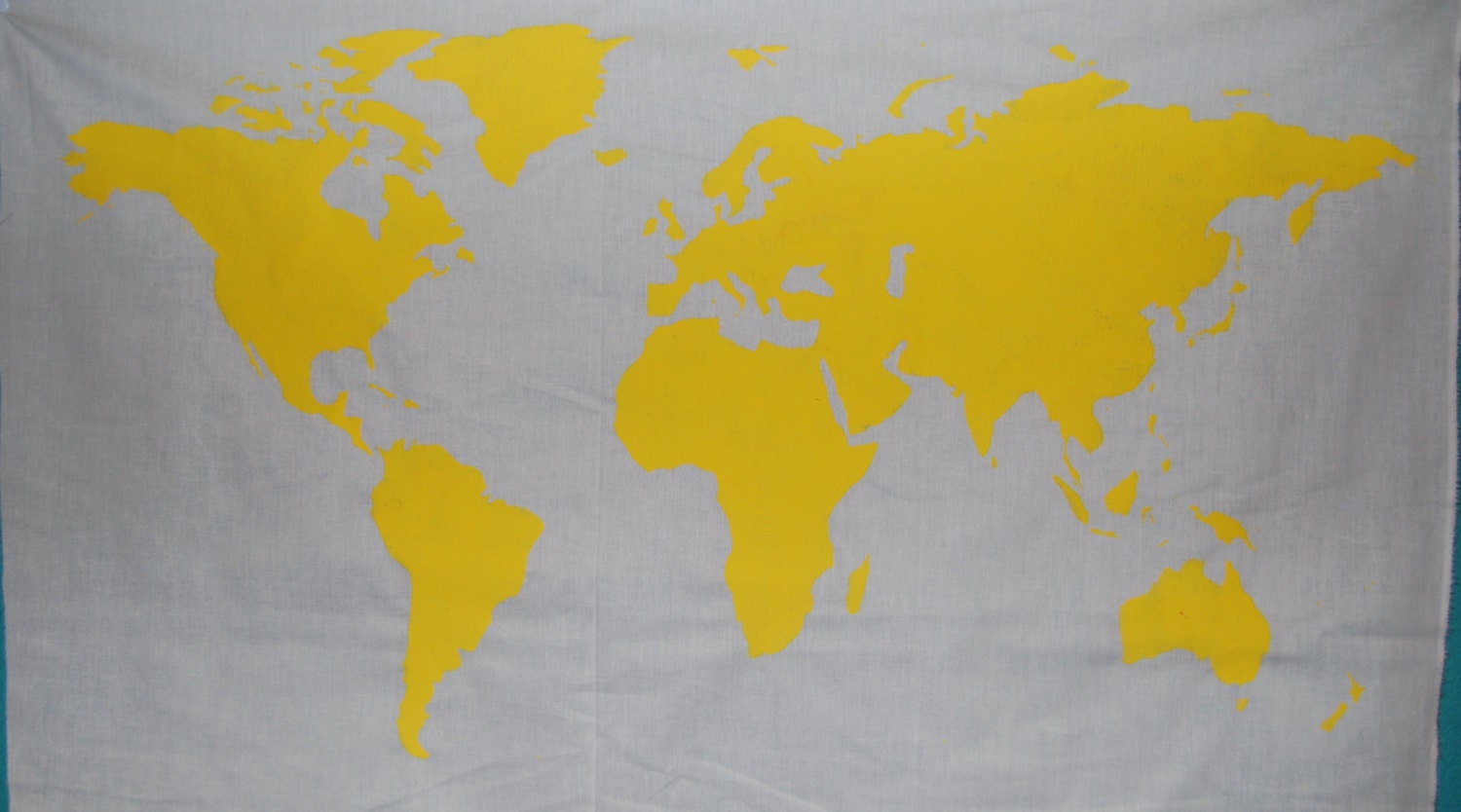 SALE World Map Wall Tapestry in Yellow