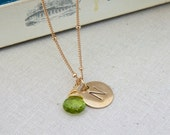 Peridot August Birthstone Initial Metal Stamp Pendant High Polished NuGold Brass Disk Gold Filled Necklace