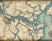 Savannah Harbor Map Art c.1864, Hand Drawn Map - Civil War Maps, Savannah, Georgia, Georgia Coast, Savannah River, Savannah Harbor, Old Maps