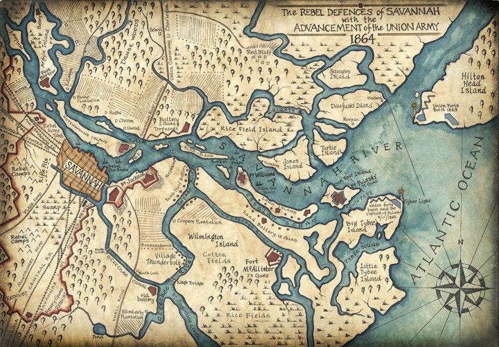 Savannah Harbor Map Art C X Hand Drawn - Map of georgia coast