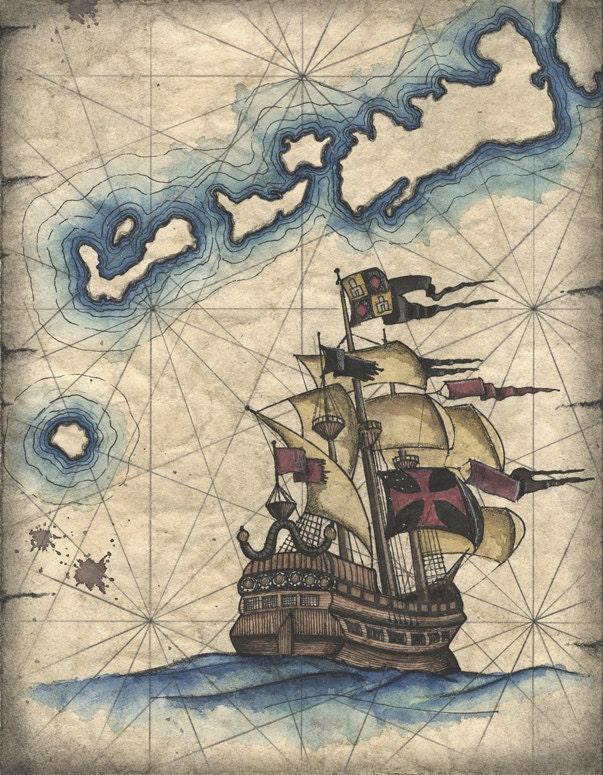 Old Sailing Ship Drawings