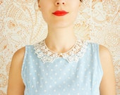 COLLAR // Bucco // Handmade Ivory Cotton Lace Collar Pearl Necklace Applique Blouse Accessories Peter Pan Collar Venise Lace Gold - EPUU
