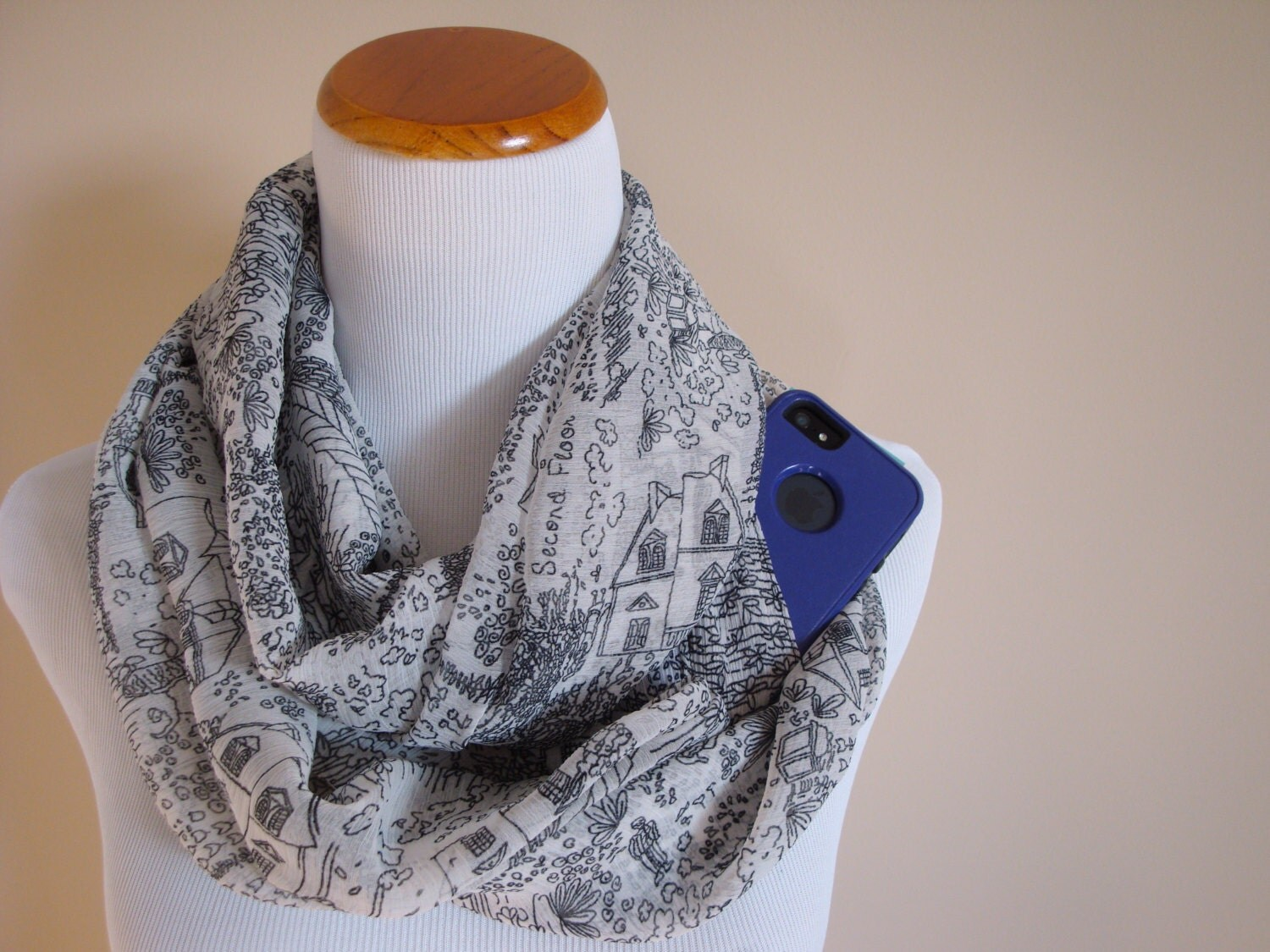 Ink print scarf with hidden pocket black and white travel for Travel scarf