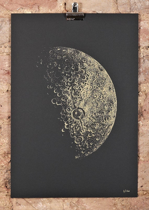 Items similar to Half Moon screeprint - A3 - gold ink on black paper on Etsy