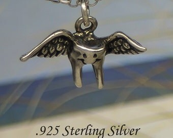 Tooth Fairy : 925 Sterling Silver  3D Charm / Necklace