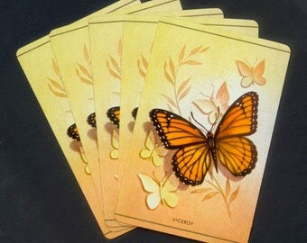 5 Monarch Butterfly Playing Cards for Collage, Altered Books, Mixed Media, ATCs