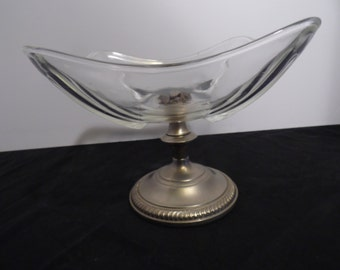 Vintage Mid Century Candy Dish, Compote, Glass, Pedastal,  Silver, Aluminum