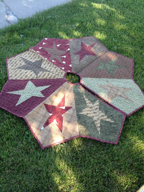 Buggy Barn Quilted Star Christmas Tree Skirt ready to ship
