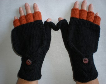 Handknitted black with autumn orange color accent  women convertible fingerless gloves to mittens with buttons